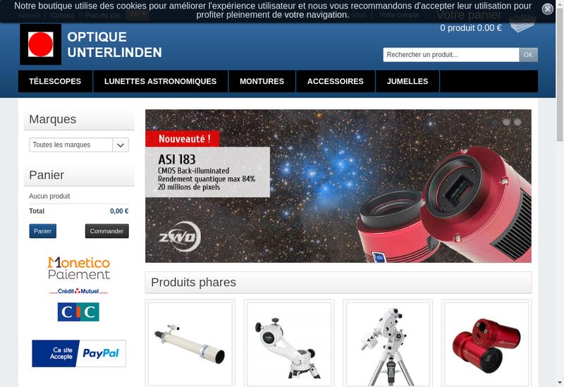 Capture d'écran du site de Optique Unterlinden