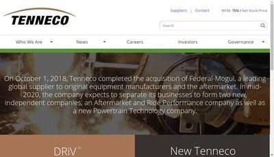 Site internet de Tenneco Automotive Services