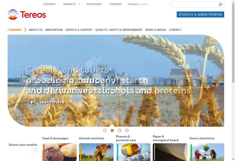 Capture d'écran du site de Tereos Starch & Sweeteners Europe