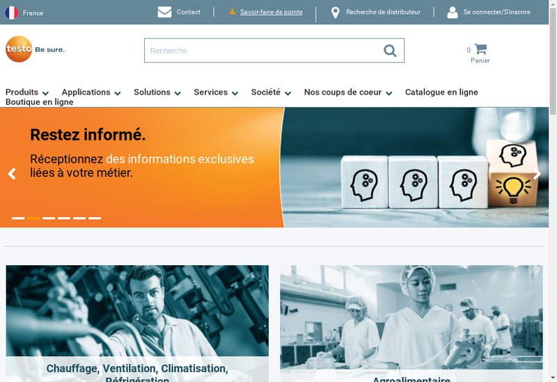 Capture d'écran du site de Testo