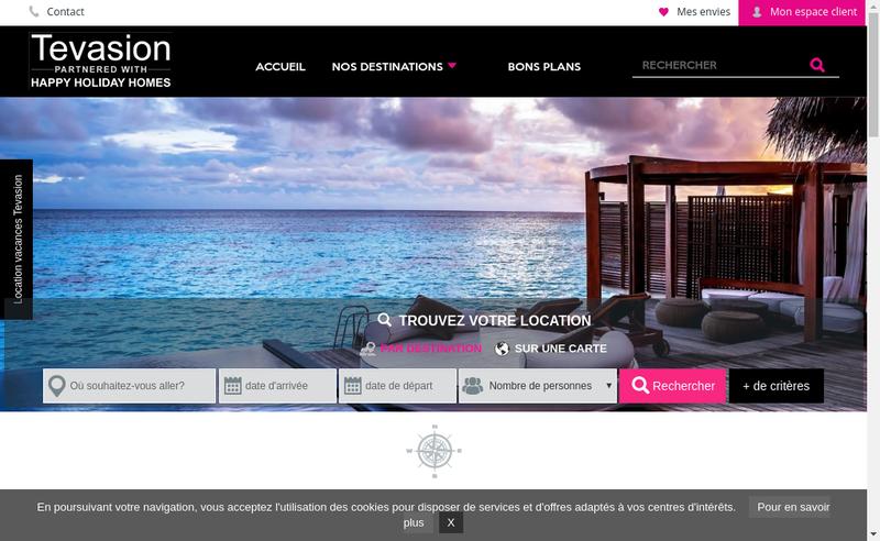 Capture d'écran du site de Tevasion