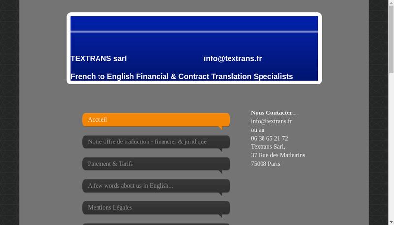 Capture d'écran du site de Textrans