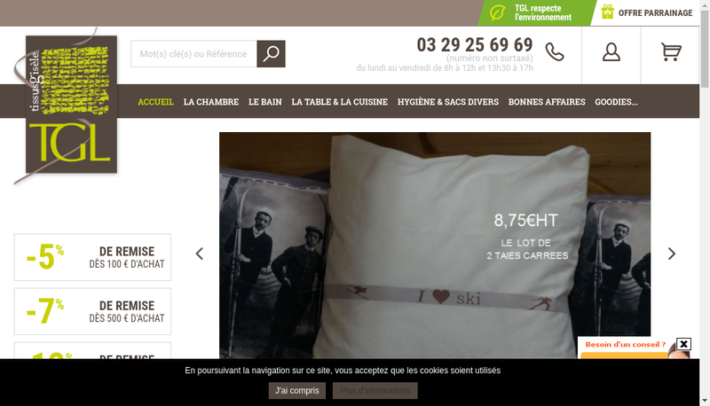 Capture d'écran du site de Tissus Gisele
