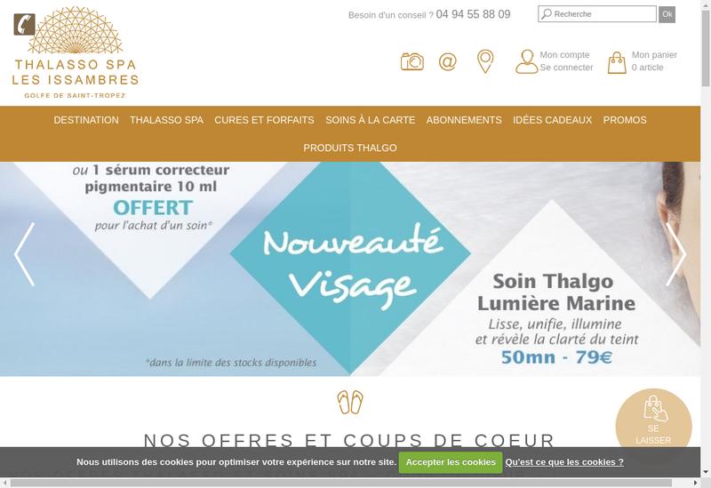 Capture d'écran du site de Thalasso les Issambres