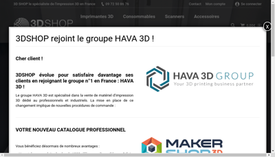 Capture d'écran du site de 3D Shop