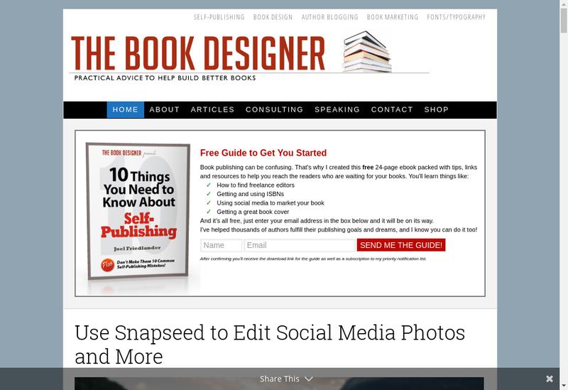 Capture d'écran du site de Bookdesigner