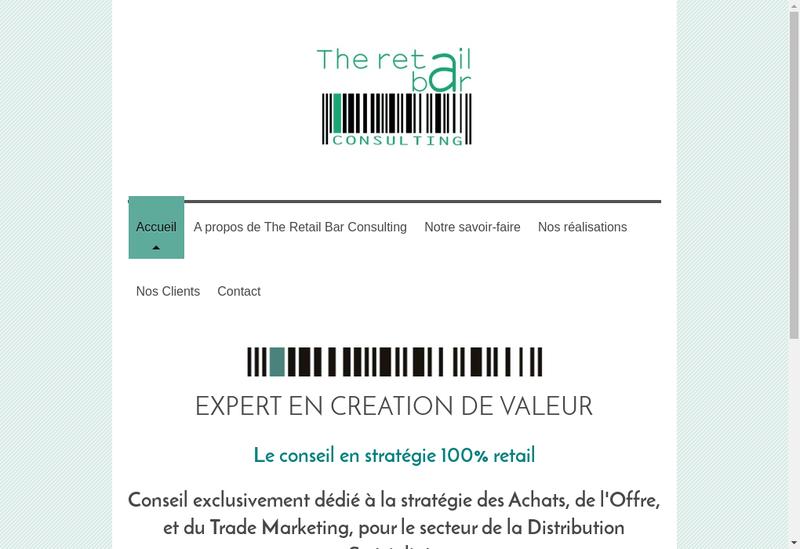 Capture d'écran du site de The Retail Bar Consulting