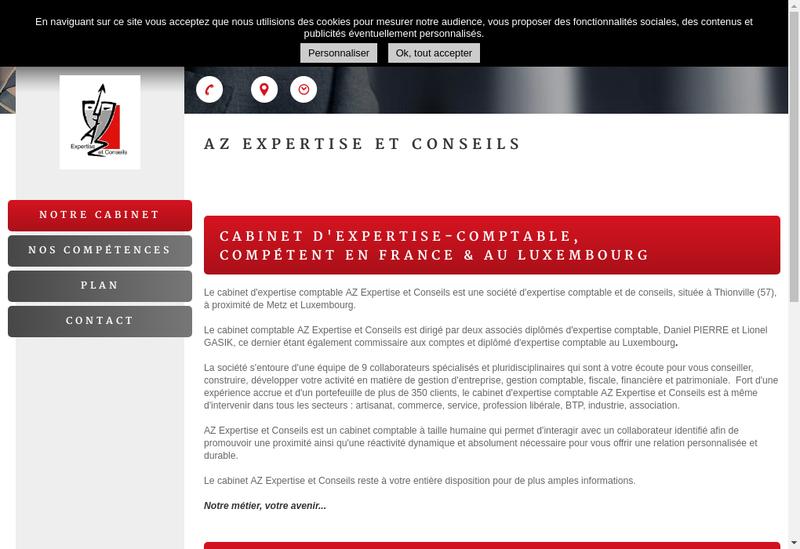 Capture d'écran du site de Az Expertise et Conseils