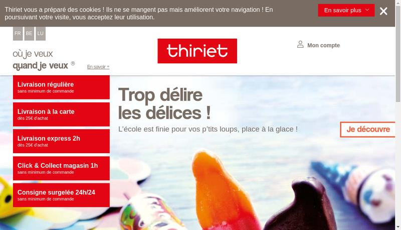 Capture d'écran du site de Thiriet Distribution