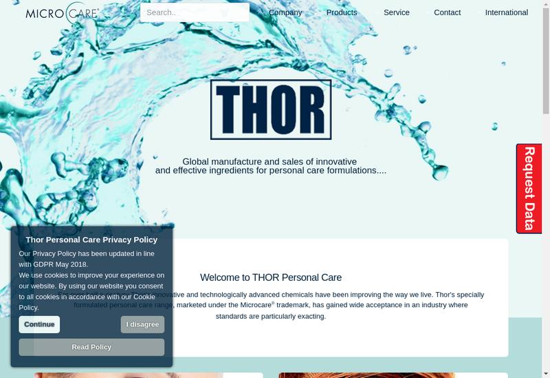 Capture d'écran du site de Thor Personal Care SAS