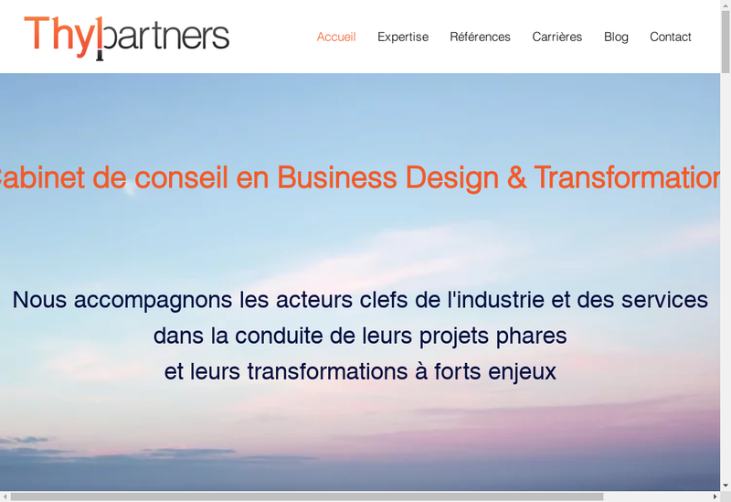 Capture d'écran du site de Thyl Partners