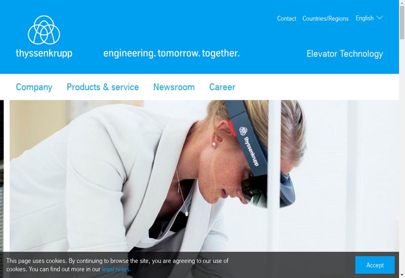 Capture d'écran du site de Thyssenkrupp Ascenseurs Holding