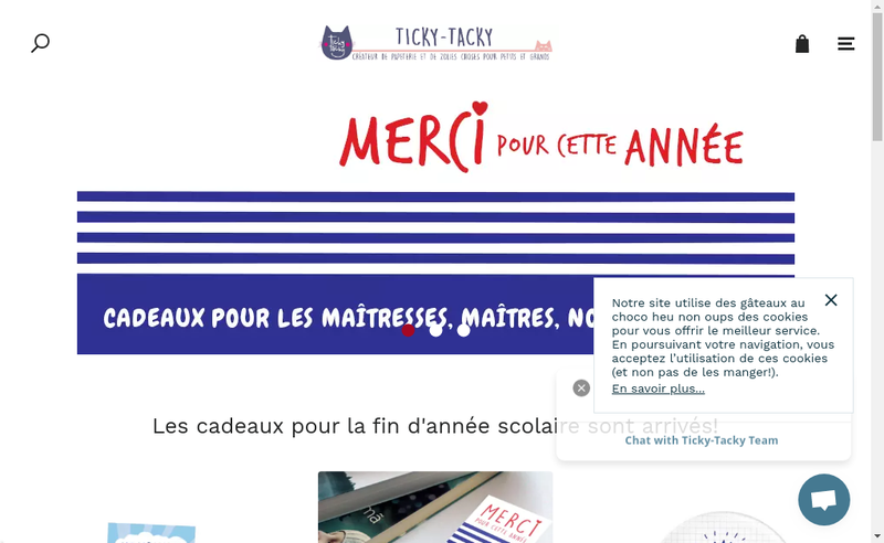 Capture d'écran du site de Ticky-Tacky