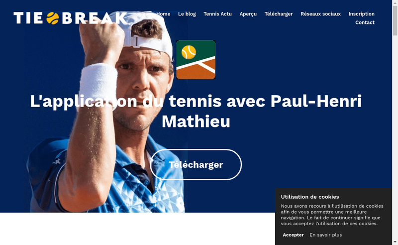 Capture d'écran du site de Tie Break