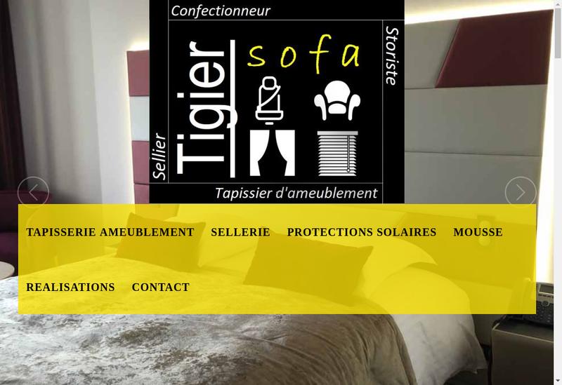 Capture d'écran du site de Tigier Sofa