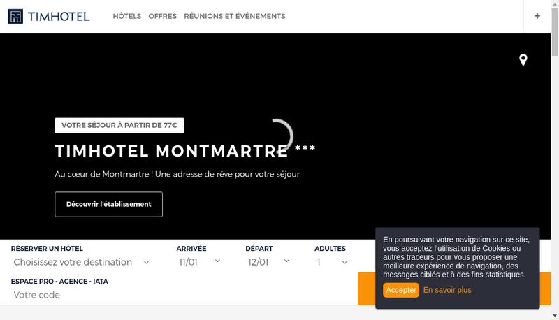 Capture d'écran du site de Timhotel