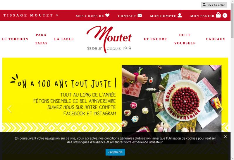 Capture d'écran du site de Tissage Moutet