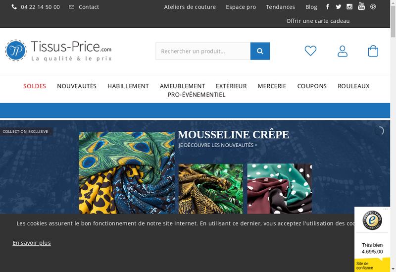 Capture d'écran du site de Tissus Price