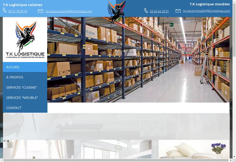 Capture d'écran du site de Tk Logistique