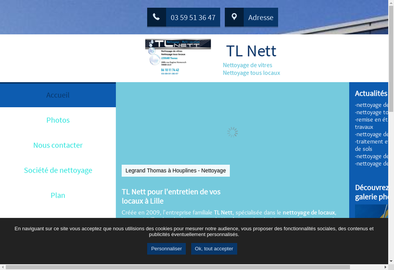 Capture d'écran du site de TL Nett