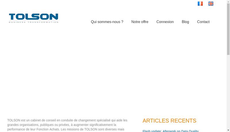 Capture d'écran du site de Tolson Consulting