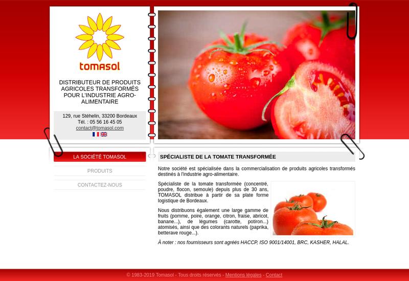 Capture d'écran du site de Tomasol