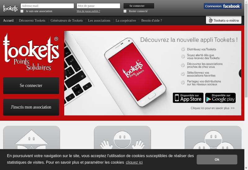 Capture d'écran du site de Tookets Coop