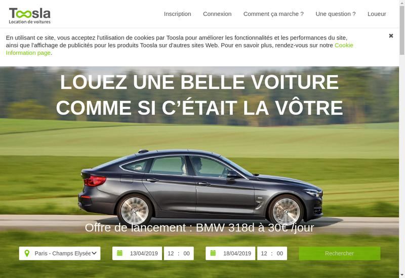 Capture d'écran du site de Toosla