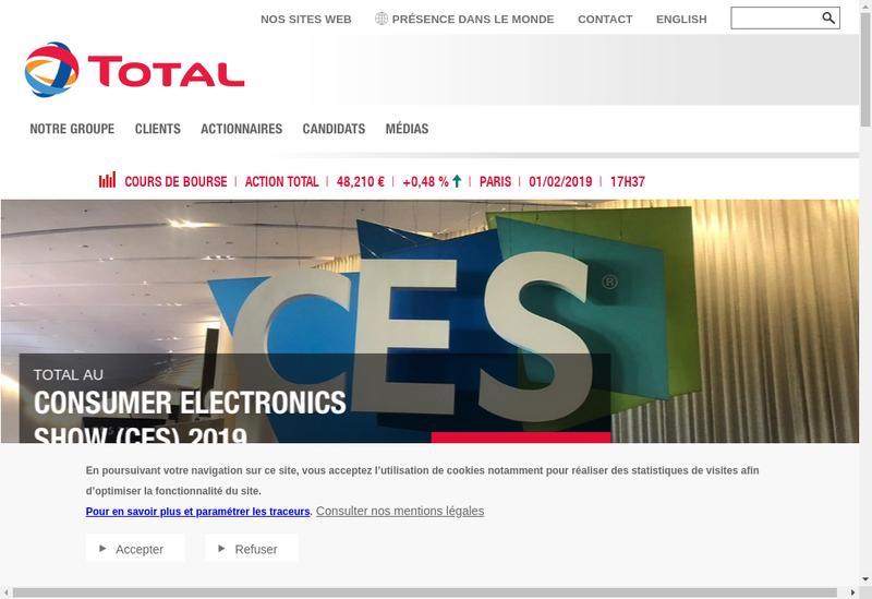 Capture d'écran du site de Total E et P Indonesie