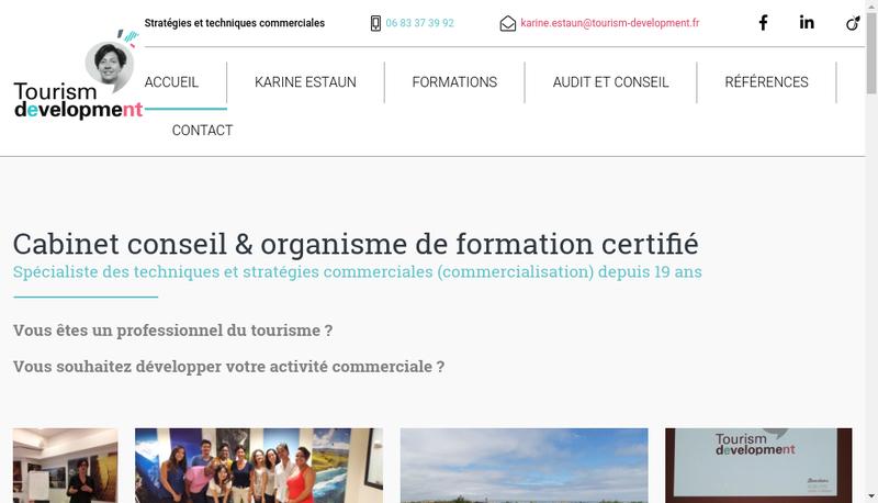 Capture d'écran du site de Tourism Development