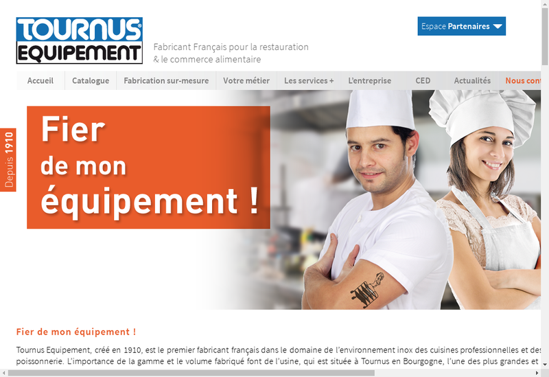 Capture d'écran du site de Tournus Equipement