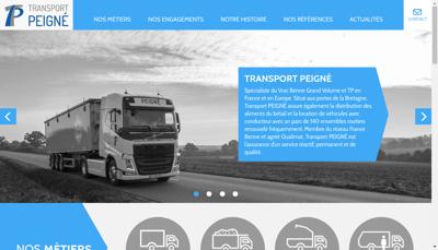 Capture d'écran du site de Transports Peigne