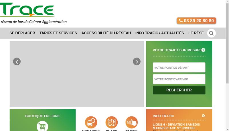 Capture d'écran du site de Trace-Colmar
