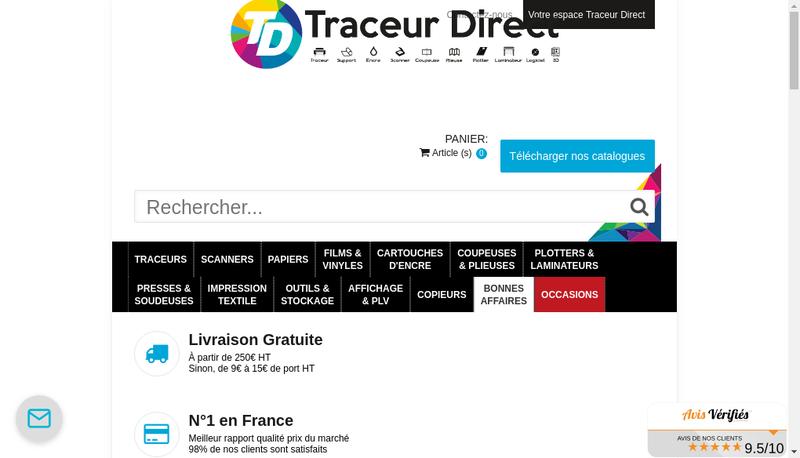 Capture d'écran du site de Traceur Direct