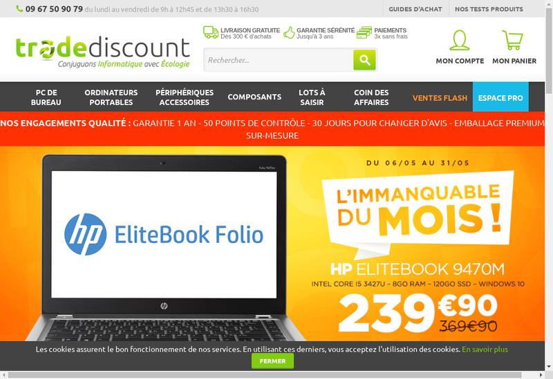 Capture d'écran du site de Trade Discount