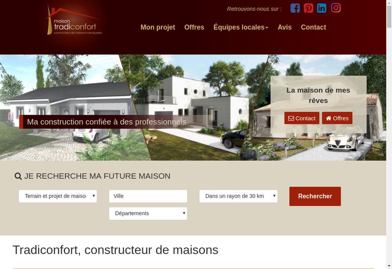 Capture d'écran du site de Tradiconfort 77