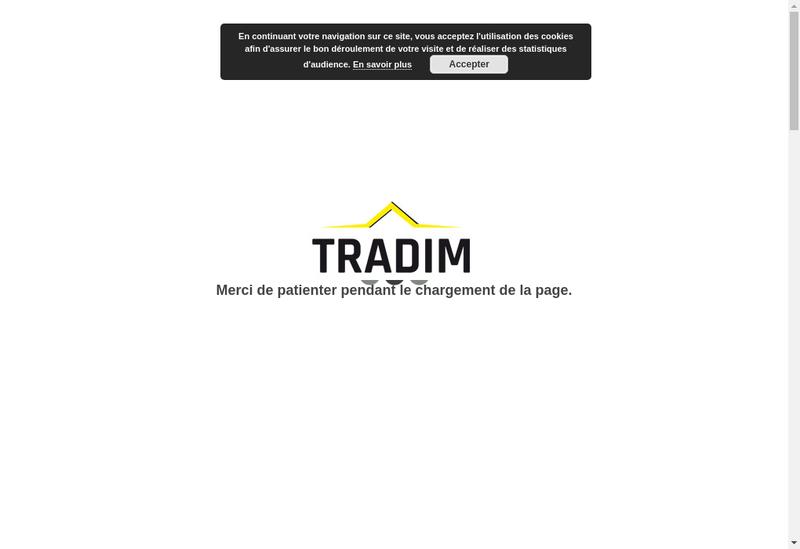 Capture d'écran du site de Tradim