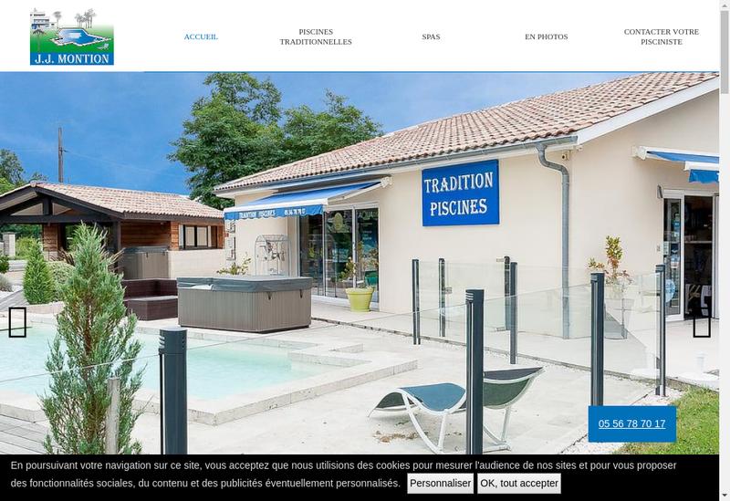 Capture d'écran du site de SARL Tradition Piscines