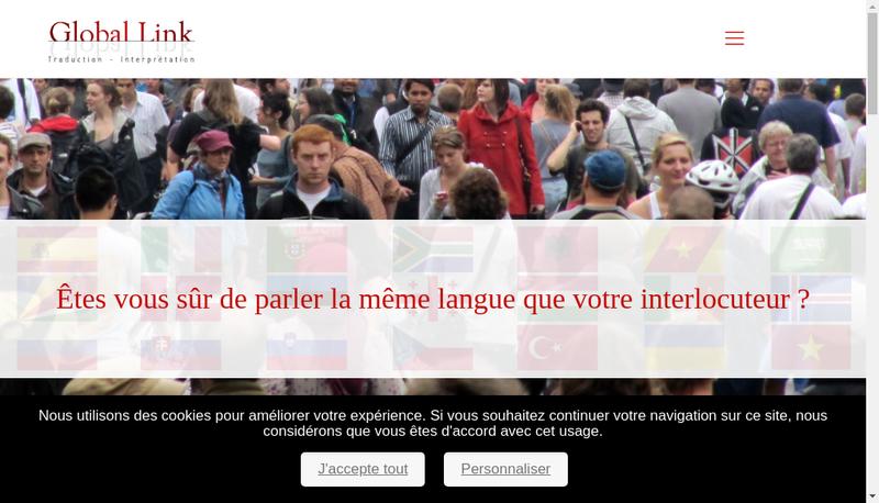 Capture d'écran du site de Global Link Translation