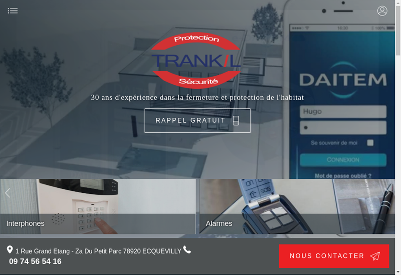 Capture d'écran du site de Trankil