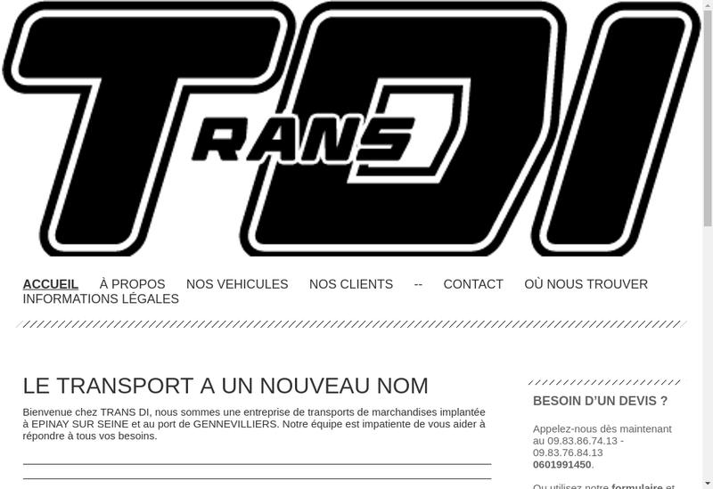 Capture d'écran du site de Trans Di