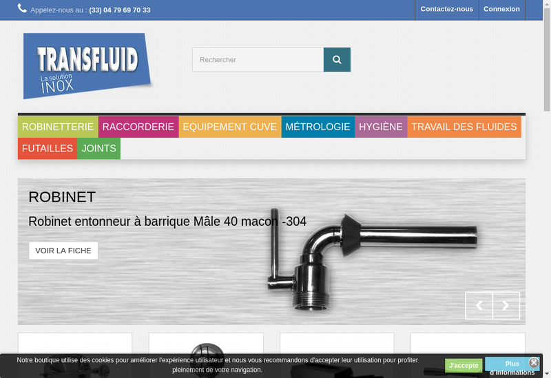 Capture d'écran du site de Transfluid
