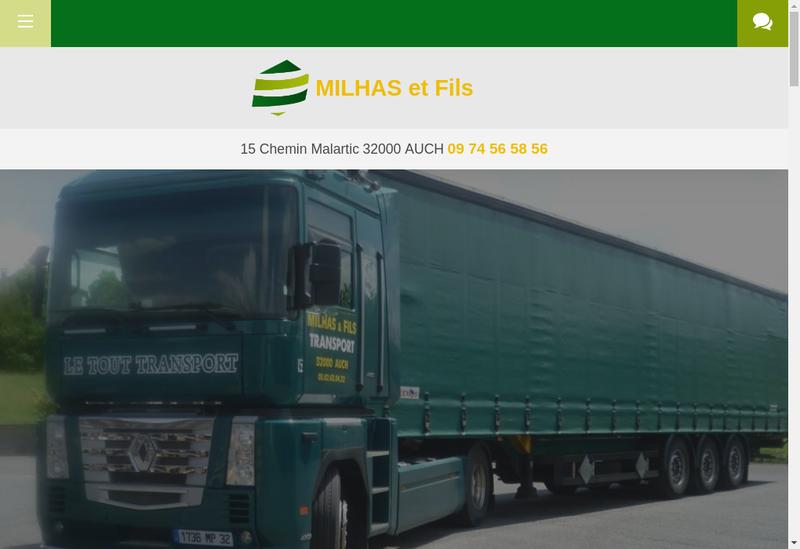 Capture d'écran du site de Milhas et Fils le Tout Transport