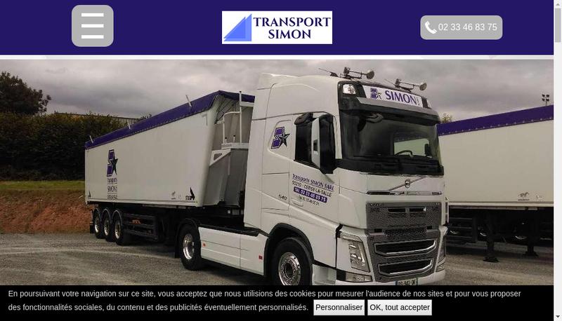 Capture d'écran du site de Transport Simon SARL