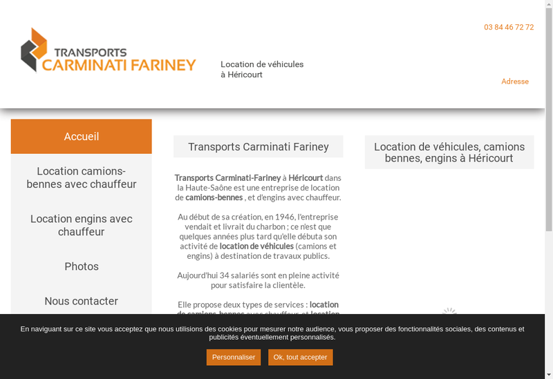 Capture d'écran du site de Transports Carminati Fariney