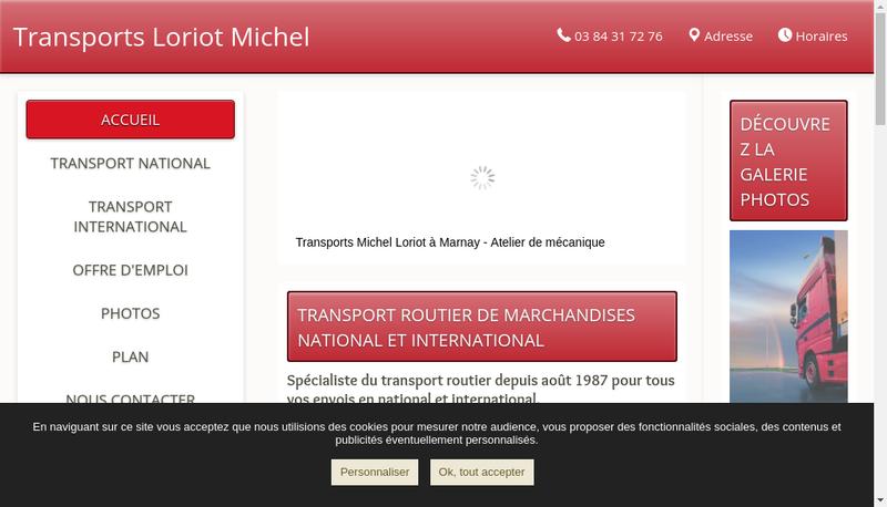 Capture d'écran du site de Transports Michel Loriot