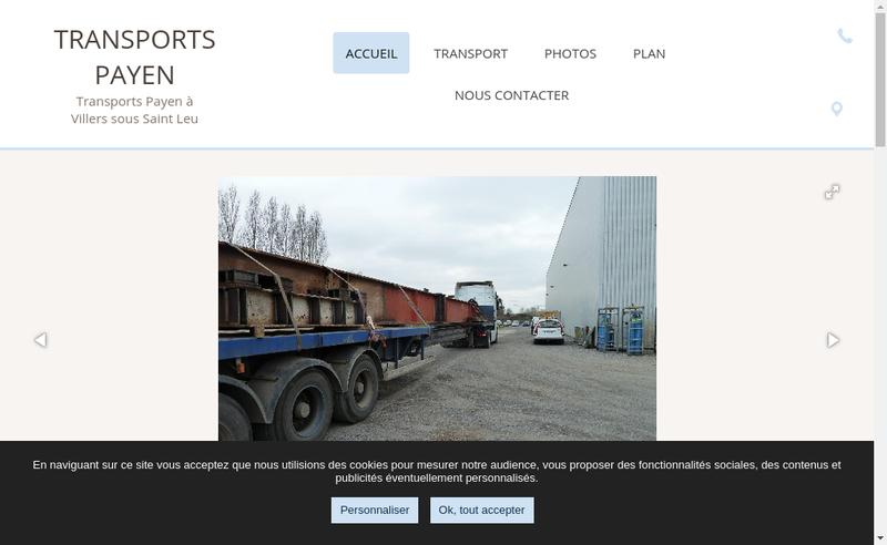 Capture d'écran du site de Transports Payen