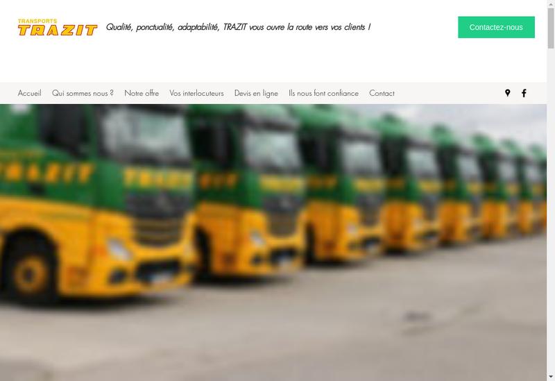 Capture d'écran du site de Transports Trazit