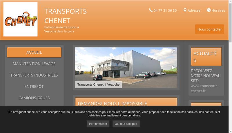 Capture d'écran du site de Transports Chenet