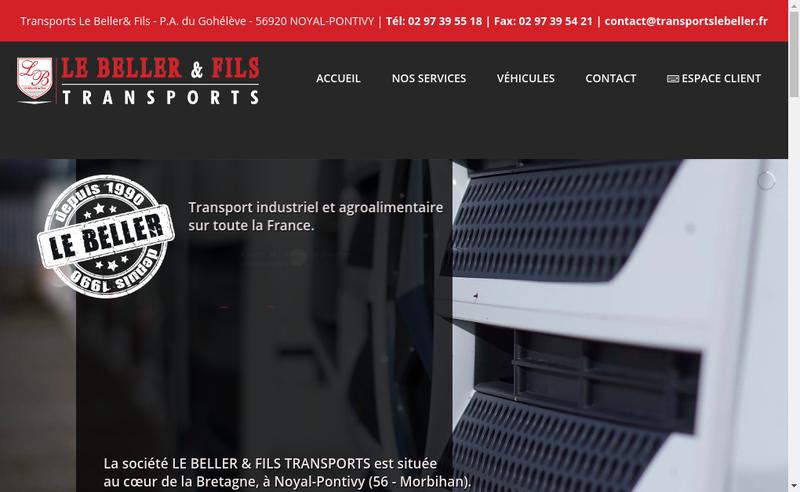Capture d'écran du site de Transports le Beller